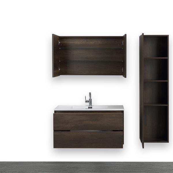 Meuble-lavabo simple, brun, 40 po, comptoir blanc lustré, de Streamline (1 miroir et 1 lingerie compris)
