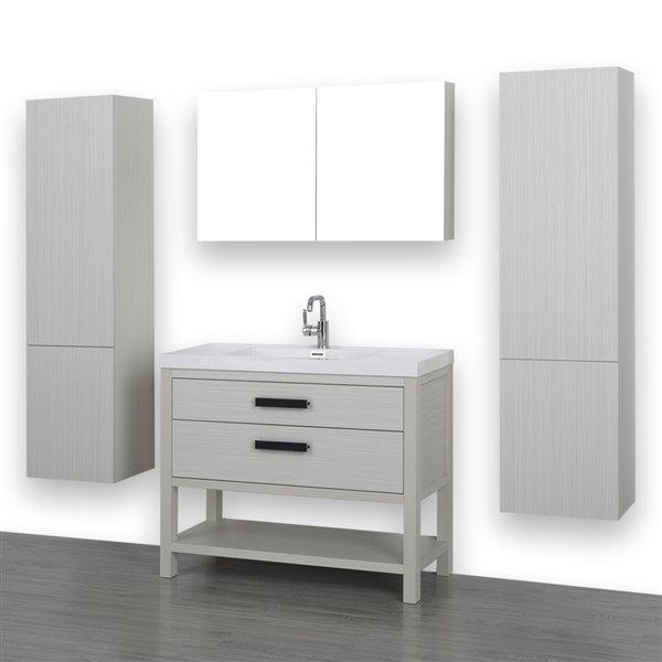 Meuble-lavabo gris cendre, autoportant, avec comptoir blanc lustré, 40 po, de Streamline (1 miroir et 1 lingerie compris)