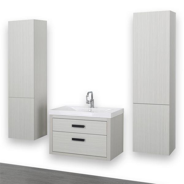 Meuble-lavabo simple de 32 po avec comptoir blanc lustré, de Streamline (2 lingeries comprises)