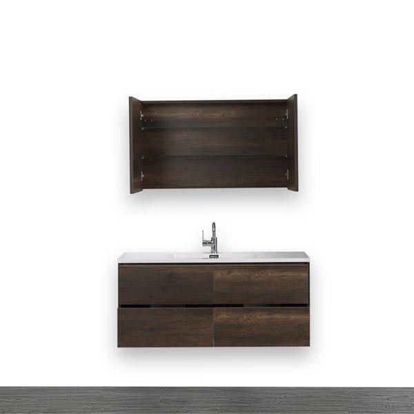 Meuble-lavabo simple avec comptoir blanc lustré, 48 po, brun, de Streamline (1 miroir compris)
