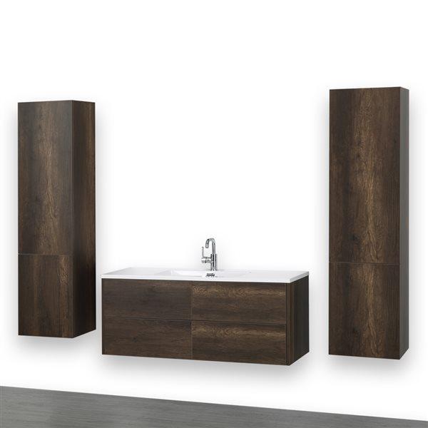 Meuble-lavabo simple, 48 po, brun, avec comptoir blanc lustré, de Streamline