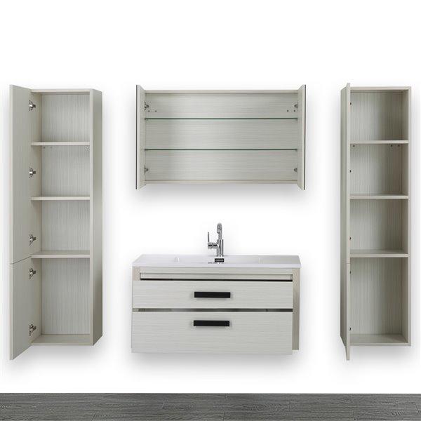 Meuble-lavabo simple gris cendre, avec comptoir blanc lustré, 40 po, de Streamline (1 miroir et 2 lingeries compris)