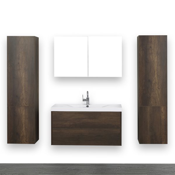 Meuble-lavabo simple brun, 40 po, comptoir blanc lustré, de Streamline (1 miroir et 2 lingeries compris)