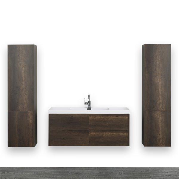 Meuble-lavabo simple brun, 48 po, comptoir blanc lustré, de Streamline (2 lingeries comprises)