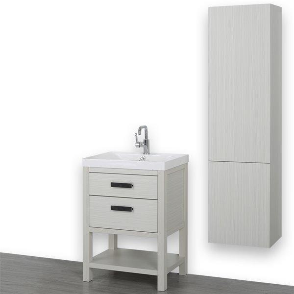 Meuble-lavabo simple de 24 po, autoportant, avec comptoir blanc lustré, de Streamline (1 lingerie comprise)
