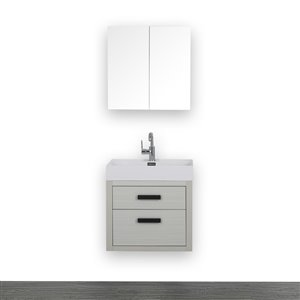 Streamline 24-in Ash Grey Single sink Bathroom Vanity With Glossy White (1 Mirror Included)