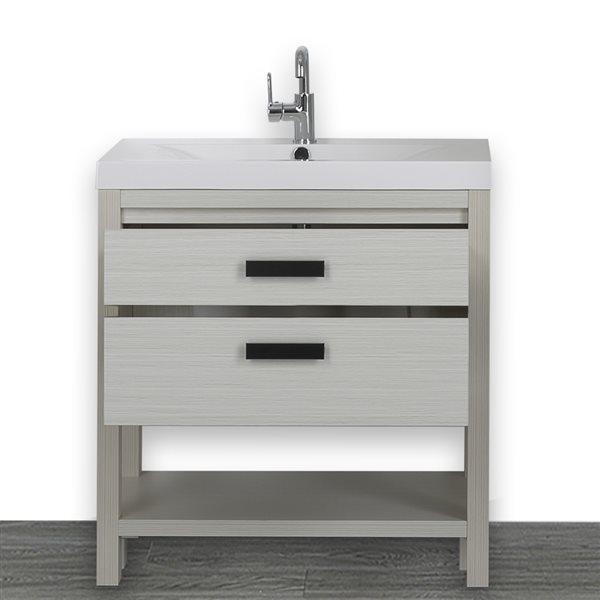 Meuble-lavabo simple autoportant gris cendre, avec comptoir blanc lustré, 32 po, de Streamline
