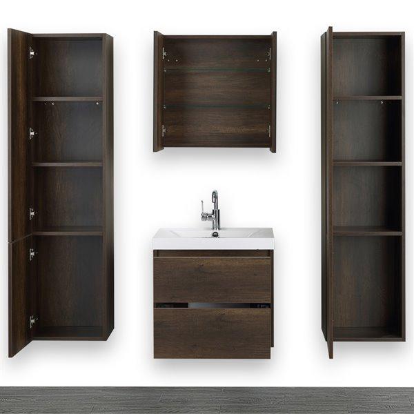 Meuble-lavabo simple brun, 24 po, comptoir blanc lustré, de Streamline (1 miroir et 2 lingeries compris)