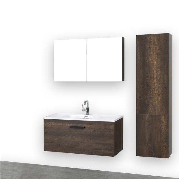 Meuble-lavabo simple brun de 40 po avec comptoir blanc lustré, de Streamline (1 miroir et 1 lingerie compris)