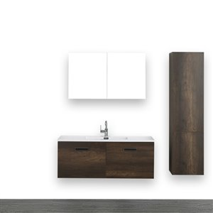 Streamline 48-in Brown Single sink Wall Mount Bathroom Vanity With Glossy White (1 Mirror and Linen Cabinet Included)