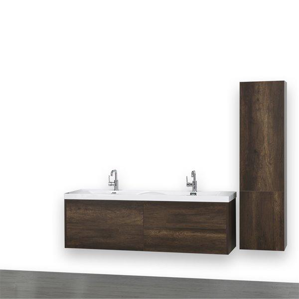 Meuble-lavabo double, mural, brun, 63 po, comptoir blanc lustré, de Streamline (1 lingerie comprise)