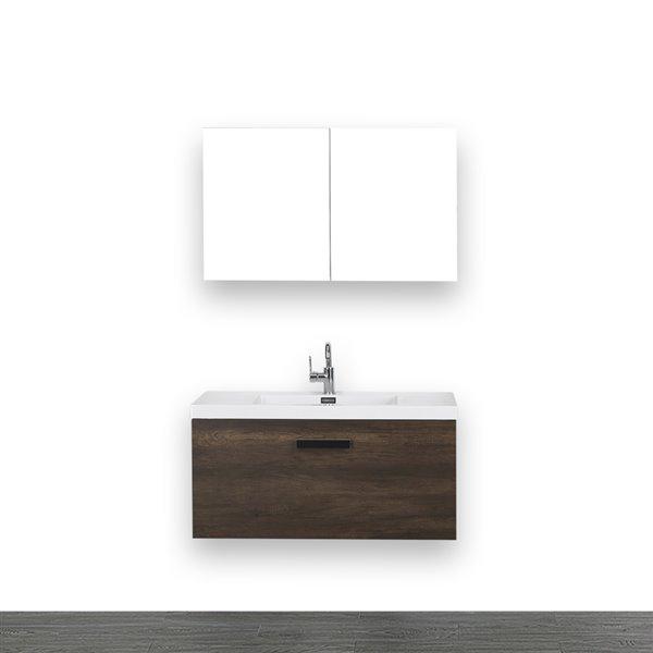 Meuble-lavabo mural simple, brun, 40 po, comptoir blanc lustré, de Streamline (1 miroir compris)
