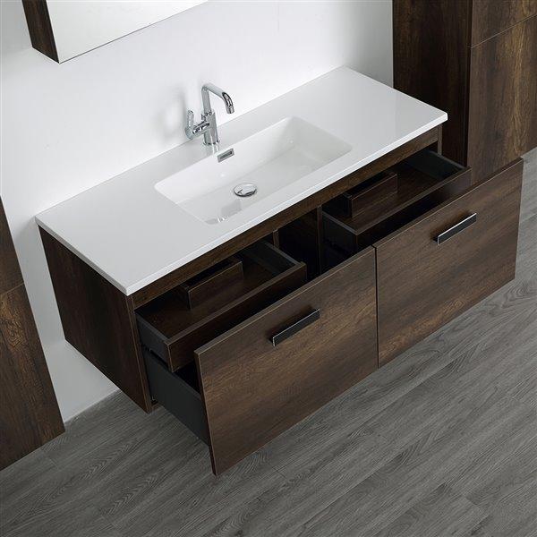 Meuble-lavabo simple brun de 48 po avec comptoir blanc lustré, de Streamline (1 miroir et 2 lingeries compris)