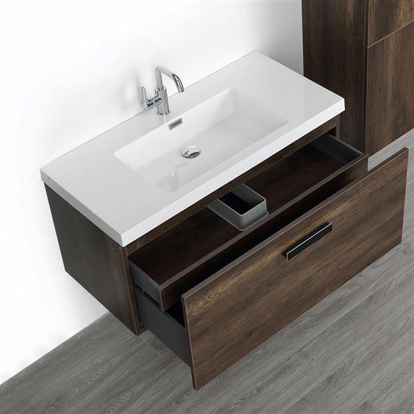 Meuble-lavabo simple, mural, brun, 40 po, comptoir blanc lustré, de Streamline (1 lingerie comprise)