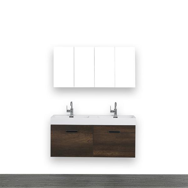 Meuble-lavabo double de 48 po, brun, avec comptoir blanc lustré, de Streamline (2 miroirs compris)