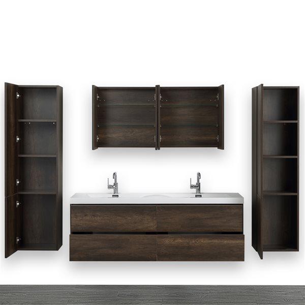 Meuble-lavabo double, brun, 63 po, comptoir blanc lustré, de Streamline (2 miroirs et 2 lingeries compris)