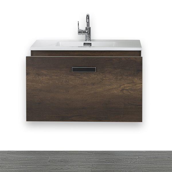Meuble-lavabo simple brun de 32 po avec comptoir blanc lustré, de Streamline
