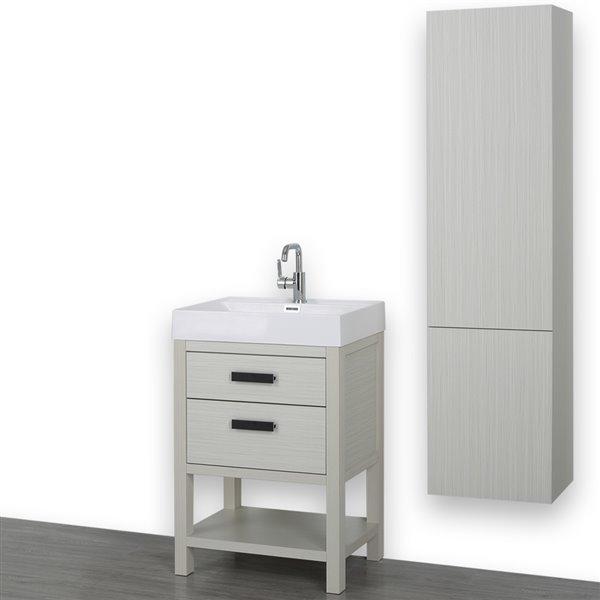 Meuble-lavabo simple autoportant gris cendre avec comptoir blanc lustré, 24 po, de Streamline (1 lingerie comprise)