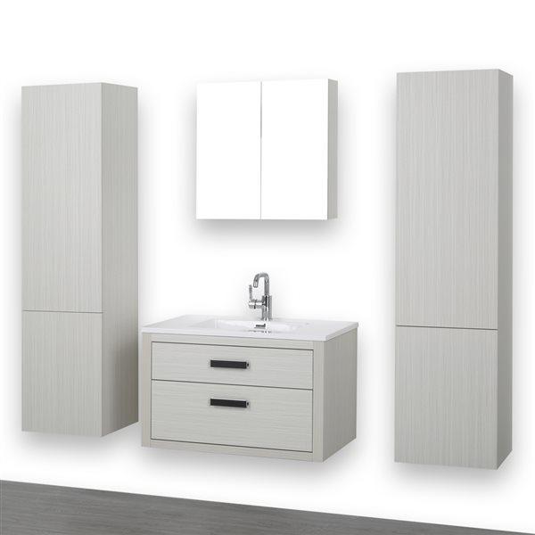 Meuble-lavabo simple gris cendre, avec comptoir blanc lustré, 32 po, de Streamline (1 miroir et 2 lingeries compris)