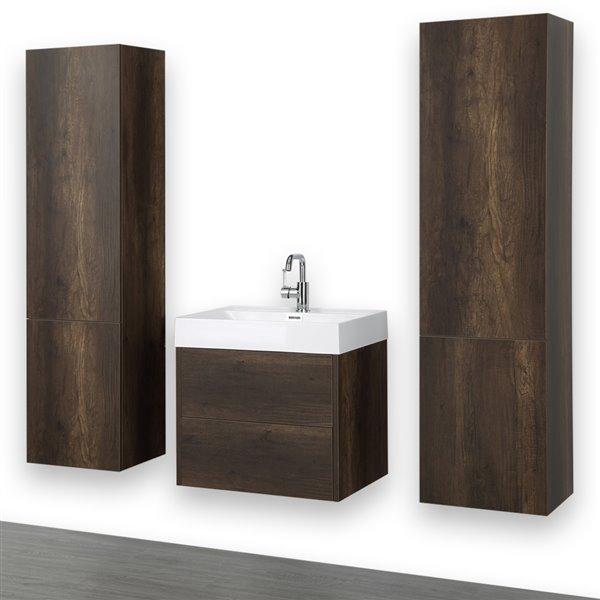 Meuble-lavabo simple brun, 24 po, mural, comptoir blanc lustré, de Streamline (2 lingeries comprises)