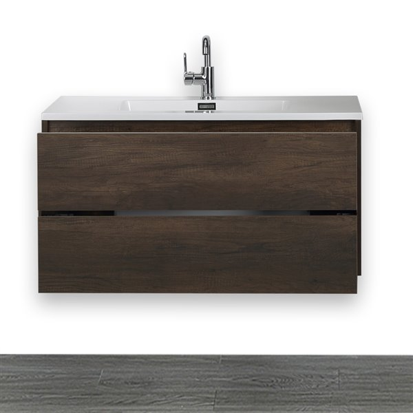 Meuble-lavabo simple, brun, mural, 40 po, comptoir blanc lustré, de Streamline