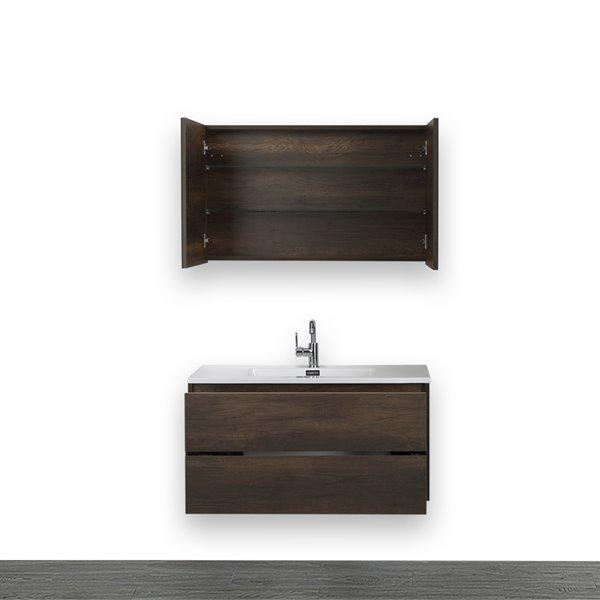 Meuble-lavabo simple, brun, 40 po, comptoir blanc lustré, de Streamline (1 miroir compris)