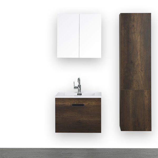 Meuble-lavabo simple brun de 24 po avec comptoir blanc lustré, de Streamline (1 mroir et 1 lingerie compris)