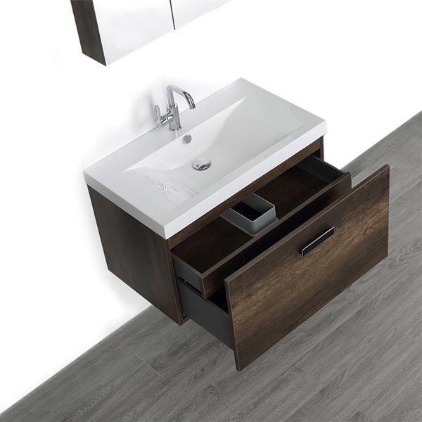 Meuble-lavabo simple, brun, mural, comptoir blanc lustré, 32 po, de Streamline (1 miroir compris)