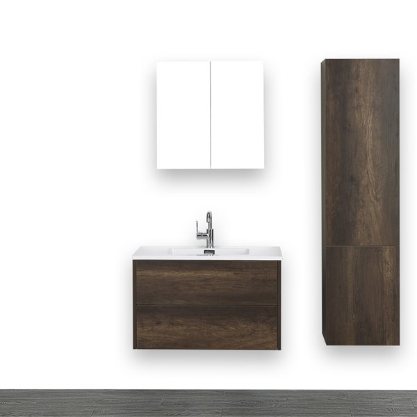 Meuble-lavabo simple mural, brun, 32 po, comptoir blanc lustré, de Streamline (1 miroir et 1 lingerie compris)