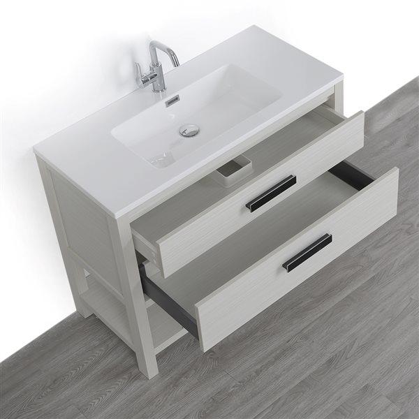 Meuble-lavabo simple gris cendre autoportant avec comptoir blanc lustré, de Streamline