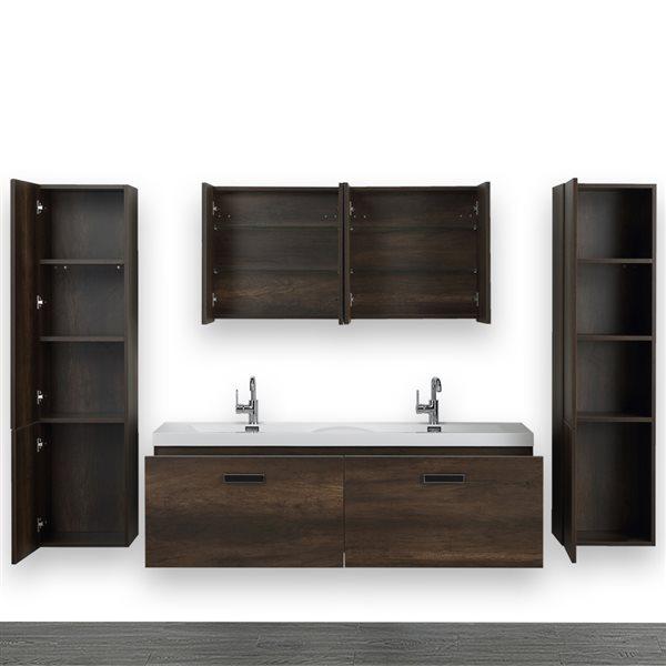 Meuble-lavabo simple, mural, brun, 63 po, comptoir blanc lustré, de Streamline (2 miroirs et 2 lingeries compris)