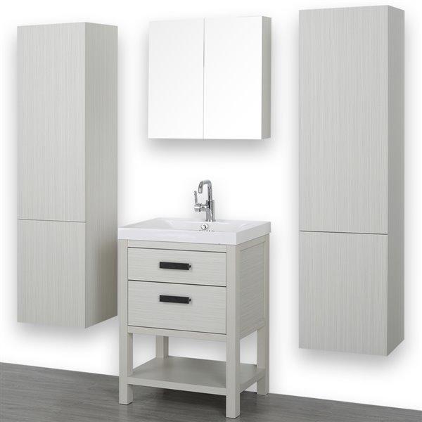 Meuble-lavabo simple autoportant gris cendre, avec comptoir blanc lustré, 24 po, de Streamline (1 miroir et 2 lingeries)