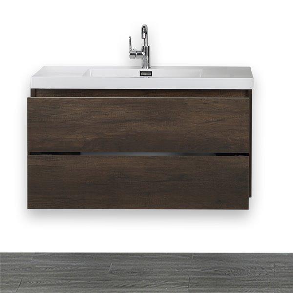 Meuble-lavabo simple, brun, 40 po, comptoir blanc lustré, de Streamline