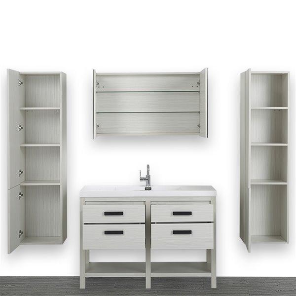 Meuble-lavabo simple gris cendre autoportant avec comptoir blanc lustré, 48 po, de Streamline (1 miroir et 2 lingeries compris)