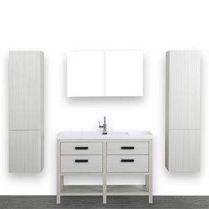 Streamline 48-in Ash Grey Single sink Freestanding Bathroom Vanity With Glossy White (1 Mirror and 2 Linen Cabinets Included)