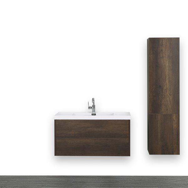 Meuble-lavabo simple, brun, 40 po, comptoir blanc lustré, de Streamline (1 lingerie comprise)