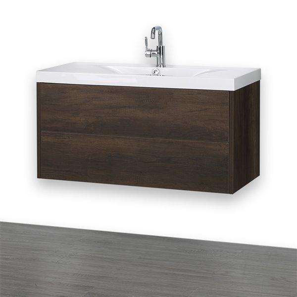 Meuble-lavabo simple brun, 40 po, comptoir blanc lustré, de Streamline