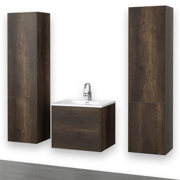 Meuble-lavabo simple mural, brun, 24 po, comptoir blanc lustré, de Streamline (2 lingeries comprises)
