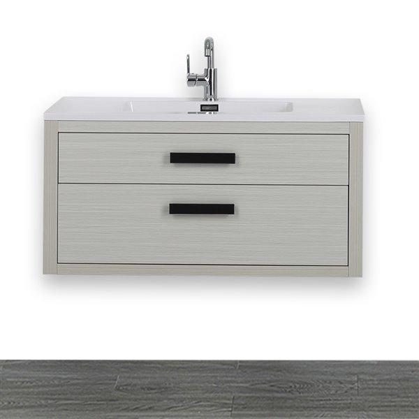 Meuble-lavabo simple gris cendre, avec comptoir blanc lustré, 40 po, de Streamline