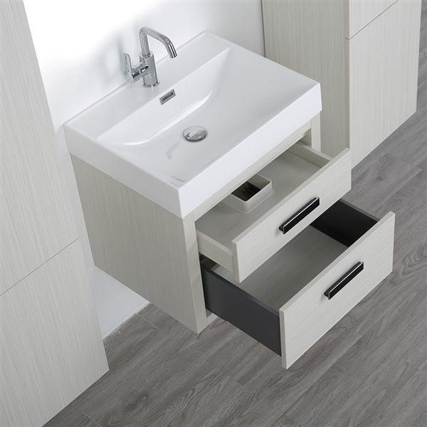 Meuble-lavabo simple gris cendre, avec comptoir blanc lustré, 24 po, de Streamline (2 lingeries comprises)
