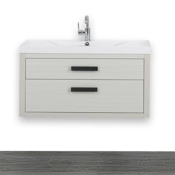 Meuble-lavabo simple de 40 po avec comptoir blanc lustré, de Streamline