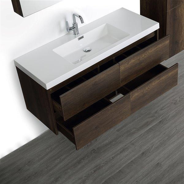 Meuble-lavabo simple brun, 48 po, comptoir blanc lustré, de Streamline (1 miroir et 1 lingerie compris)