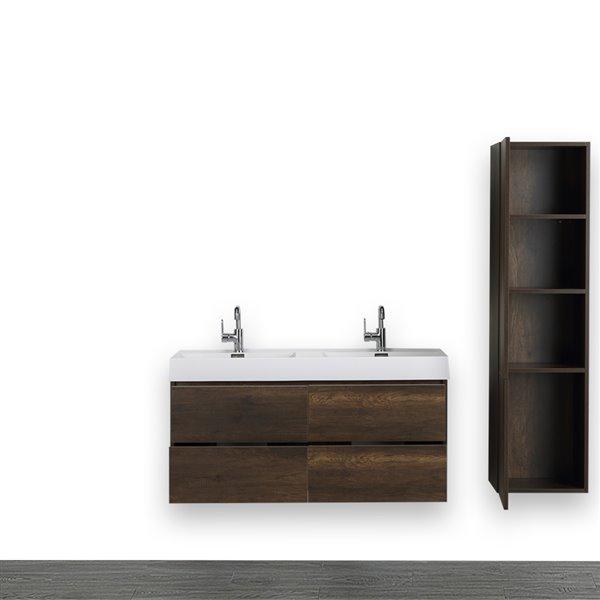 Meuble-lavabo double brun de 48 po avec comptoir blanc lustré, de Streamline (1 lingerie comprise)