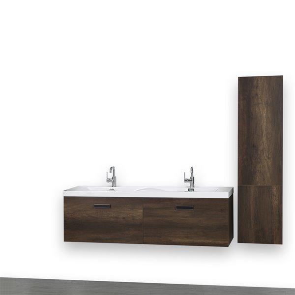 Meuble-lavabo double de 63 po, brun, mural, comptoir blanc lustré, de Streamline (1 lingerie comprise)