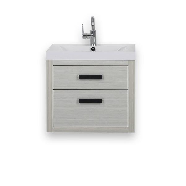 Meuble-lavabo simple de 24 po gris cendre avec comptoir blanc lustré, de Streamline
