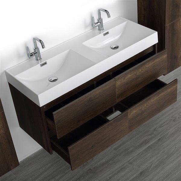Meuble-lavabo double brun de 48 po avec comptoir blanc lustré, de Streamline (2 lingeries comprises)