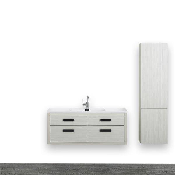 Meuble-lavabo simple gris cendre, avec comptoir blanc lustré, 48 po, de Streamline (1 lingerie comprise)