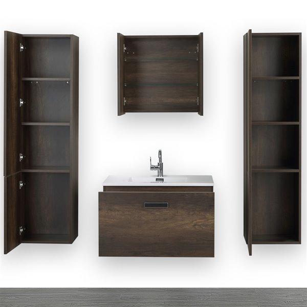 Meuble-lavabo simple brun de 32 po avec comptoir blanc lustré, de Streamline (1 miroir et 2 lingeries compris)