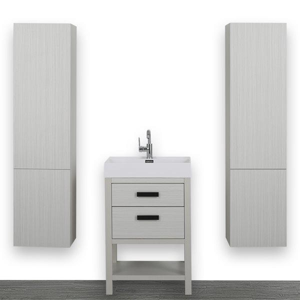Meuble-lavabo simple autoportant gris cendre avec comptoir blanc lustré, 24 po, de Streamline (2 lingeries comprises)