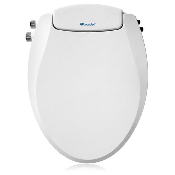 Siège de toilette bidet Swash Dual Temperature non-électrique blanc allongé à fermeture lente de Brondell